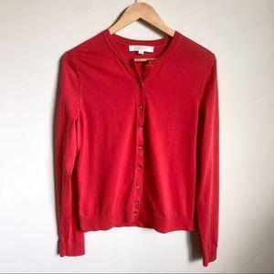 LOFT red/orange cardigan